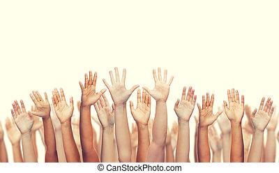 ondulación, manos humanas