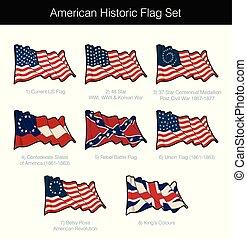 ondulación, norteamericano, histórico, conjunto, bandera