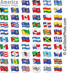 ondulación, norteamericano, vector, conjunto, bandera