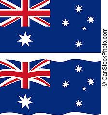 ondulación, plano, australiano, vector, flag.