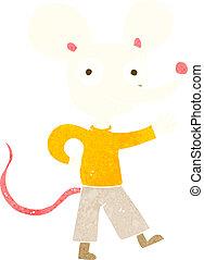 ondulación, ratón, caricatura