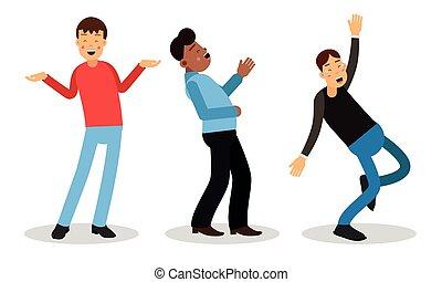 ondulación, reír, ilustración, caracteres, mano, vector, hombre, loudly, conjunto