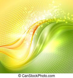 ondulación, resumen, fondo verde, amarillo