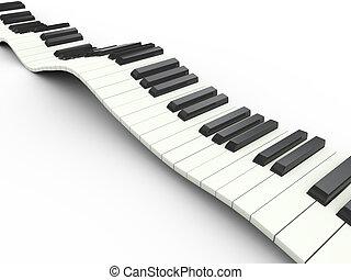 ondulado, 3d, teclado