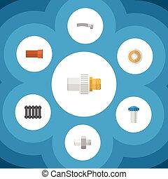 ondulado, apartamento, jogo, elements., indústria, água, inclui, conector, também, vetorial, água, lançar, filtro, objects., ícone, outro, aquecedor, cano