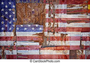 ondulado, bandeira estados unida, ferro, américa