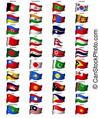 ondulado, bandeiras, ásia