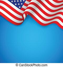 ondulado, bandera estadounidense