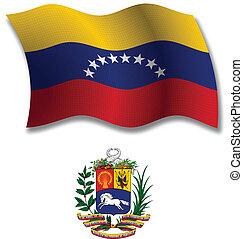 ondulado, bandera,  vector,  venezuela,  Textured
