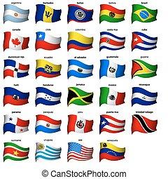 ondulado, banderas americanas, conjunto