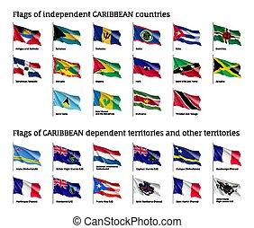 ondulado, banderas, de, caribe, países