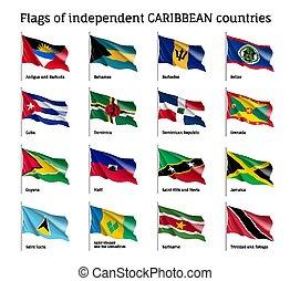 ondulado, banderas, de, independiente, caribe, países