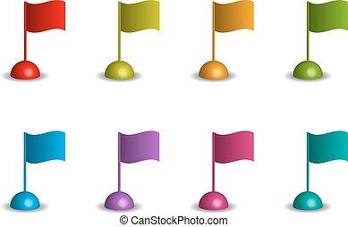 ondulado, banderas, en, diferente, colores