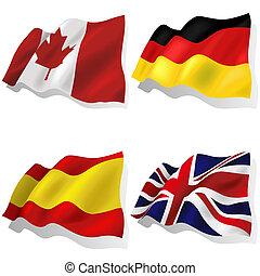 ondulado, banderas