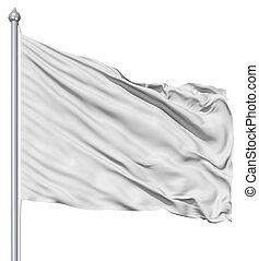 ondulado, blanco, textil, bandera, en, asta