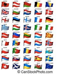 ondulado, conjunto, banderas, europeo