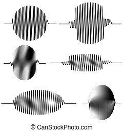 ondulado, conjunto, oscillogram