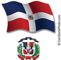 ondulado, dominicano, bandera, vector, república, textured