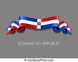 ondulado, dominicano, fondo., cinta, república, vector,...