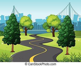 ondulado, estrada, cidade, parque