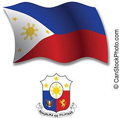 ondulado, filipinas, vetorial, bandeira, textured