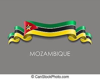 ondulado, fondo., cinta, bandera, vector, mozambique,...