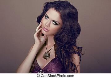 ondulado, hair., bonito, elegante, morena, woman., saudável, longo, marrom, hair., beleza, modelo, girl.