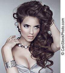 ondulado, hair., moda, niña, modelo, con, largo, rizado,...