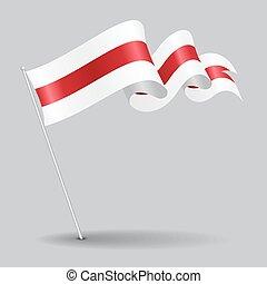 ondulado, illustration., alfiler, flag., vector, belorussian