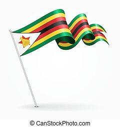 ondulado, illustration., alfiler, flag., zimbabwe, vector