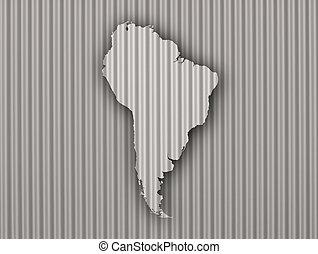 ondulado, mapa, américa, sul, ferro