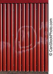 ondulado, sheet., metal, vermelho