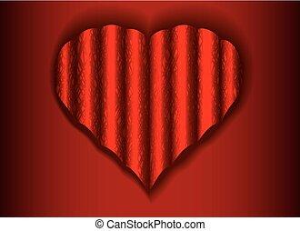 ondulado, teia, coração, fundo, branca, sombra