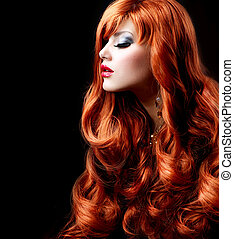 ondulado, vermelho, hair., moda, menina, retrato
