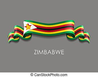 ondulato, fondo., nastro, bandiera, vettore, zimbabwean, illustration.