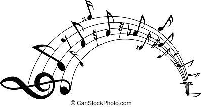 ondulato, note, fondo., vettore, bianco, personale musicale