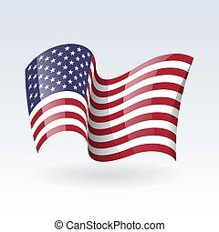 ondulato, set, simbolo., fondo., stati uniti, print., isolato, americano, patriottico, illustration., icon., flags., stati, vettore, flag., bianco, nazionale, unito