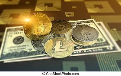 ondulazione, crypto-currency, baluginante, fondo