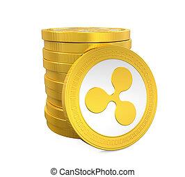 ondulazione, monete, pila, isolato