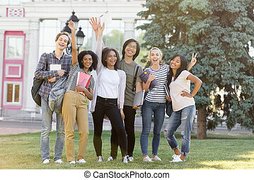 onduler, étudiants, outdoors., gai, debout