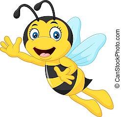 onduler, abeille, dessin animé, main