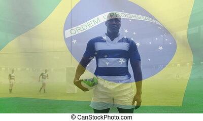 onduler, américain, joueur, drapeau, brésilien, sur, africaine, balle, animation, rugby, tenue, mâle