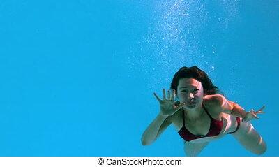 onduler, appareil photo, brunette, sous-marin, heureux