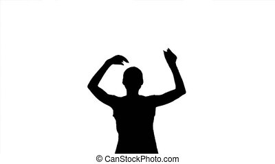 onduler, applaudir, femme, applaudir, noir, silhouette, ...