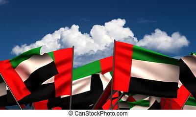 onduler, arabe, uni, emirats, drapeaux