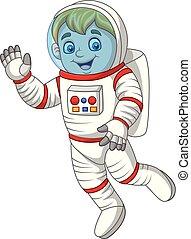 onduler, astronaute, dessin animé, main