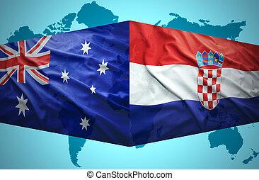 onduler, australien, drapeaux, croate