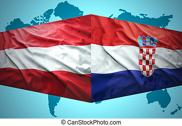 onduler, autrichien, drapeaux, croate