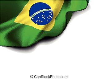 onduler, brésil, drapeau, amérique, sud