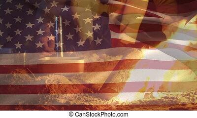 onduler, camping, drapeau, homme, caucasien, nous, premier ...
